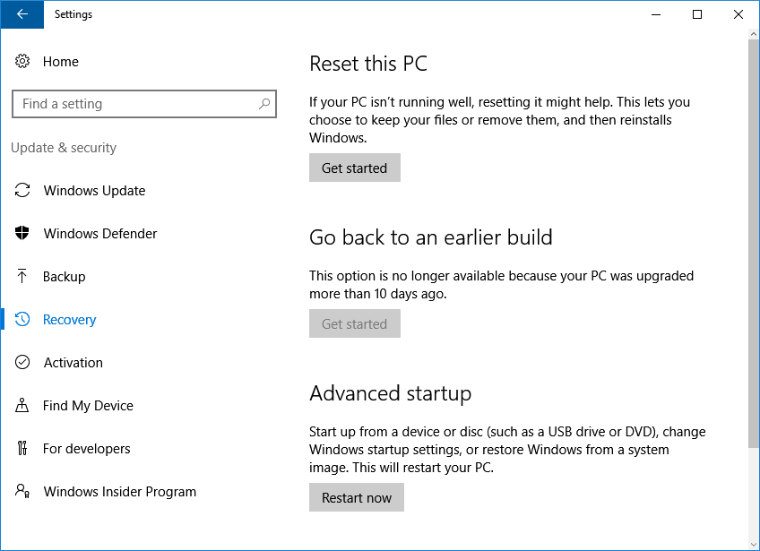 Windows 10 settings menu