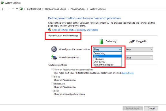 Power button in Windows 10