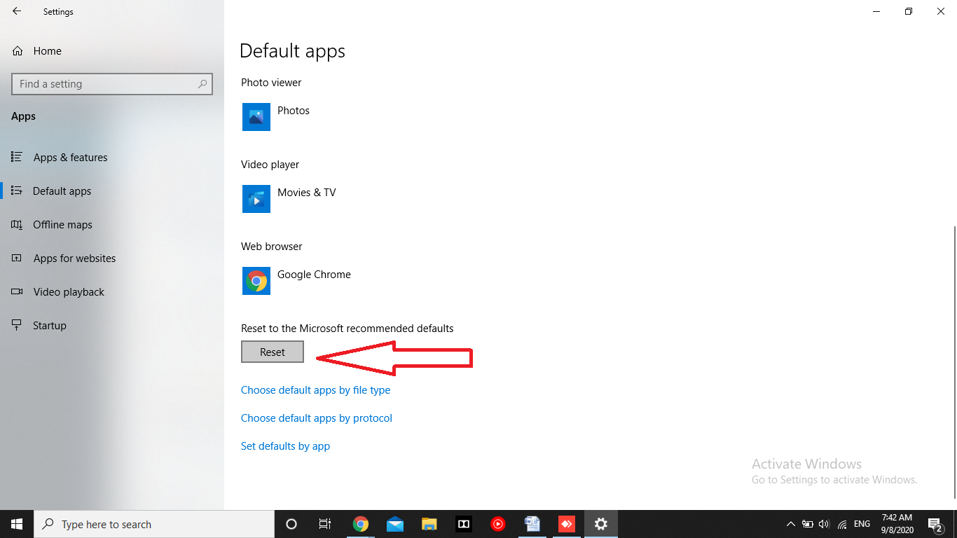 change default programs windows 10